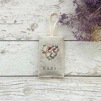 Hugs Heart Lavender Pouch - Red Floral Heart