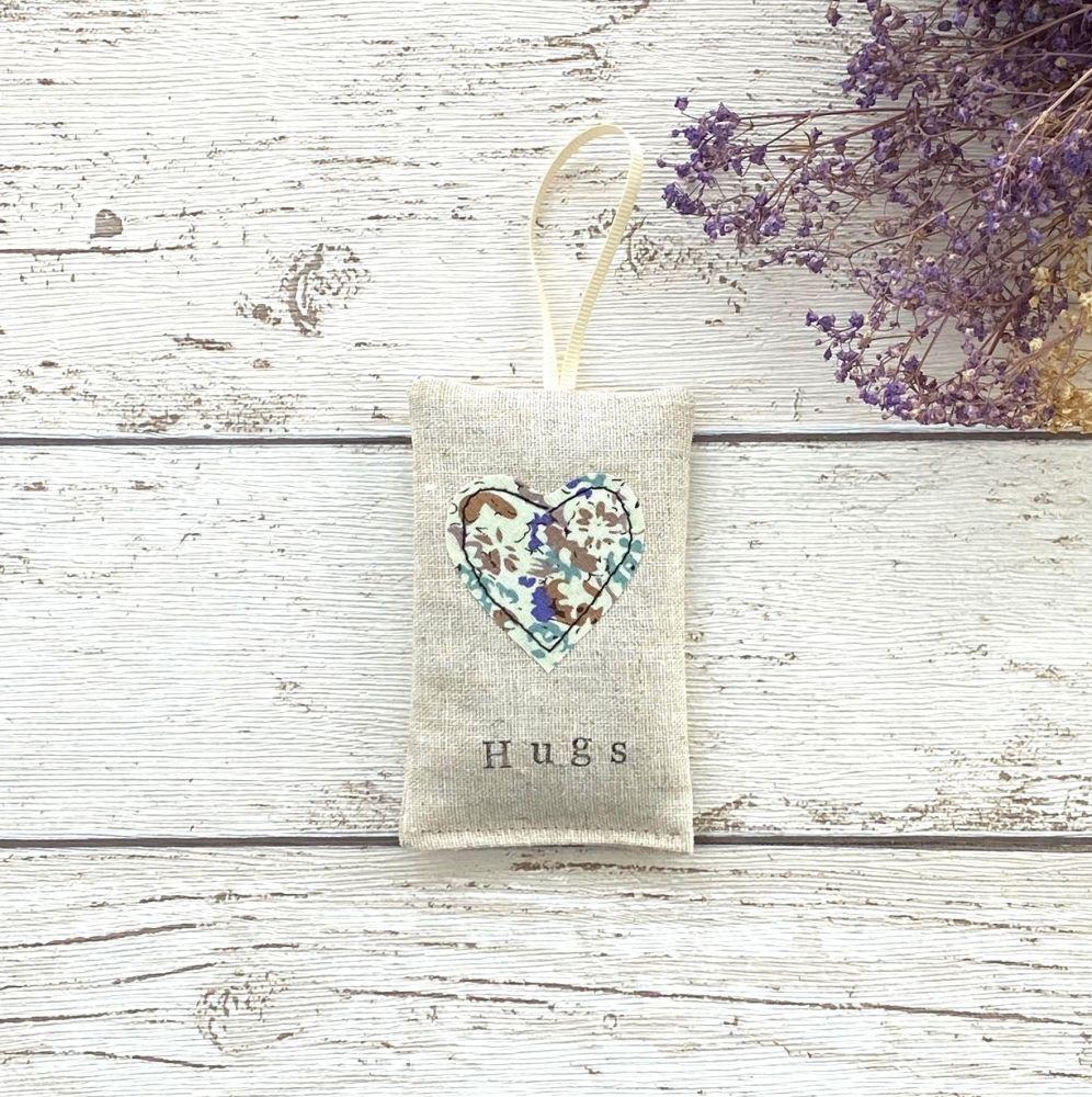 Hugs Heart Lavender Pouch - Blue Floral Heart