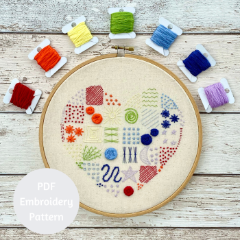 Rainbow Heart Embroidery Sampler | PDF Pattern