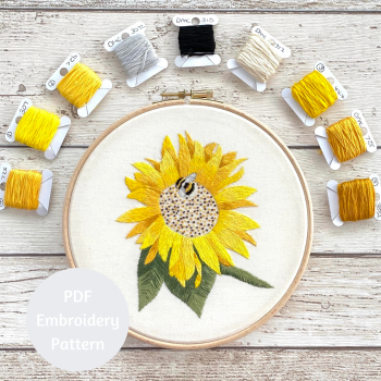 Sunflower Hand Embroidery Pattern | PDF