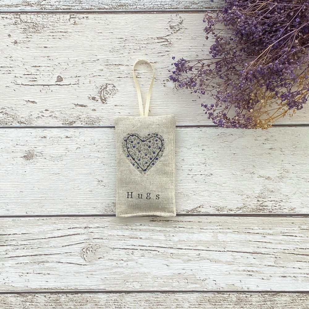 Hugs Heart Lavender Pouch -Ditsy Blue Flowers Heart