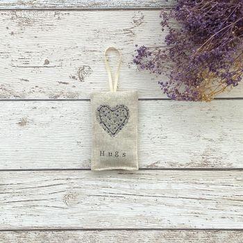 Hugs Heart Lavender Pouch - Ditsy Blue Flowers Heart