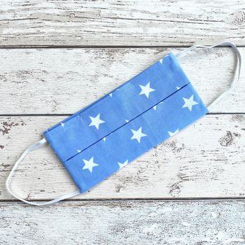 100% Cotton Face Mask | Handmade | Light Blue & White Stars |LARGE/ADULT