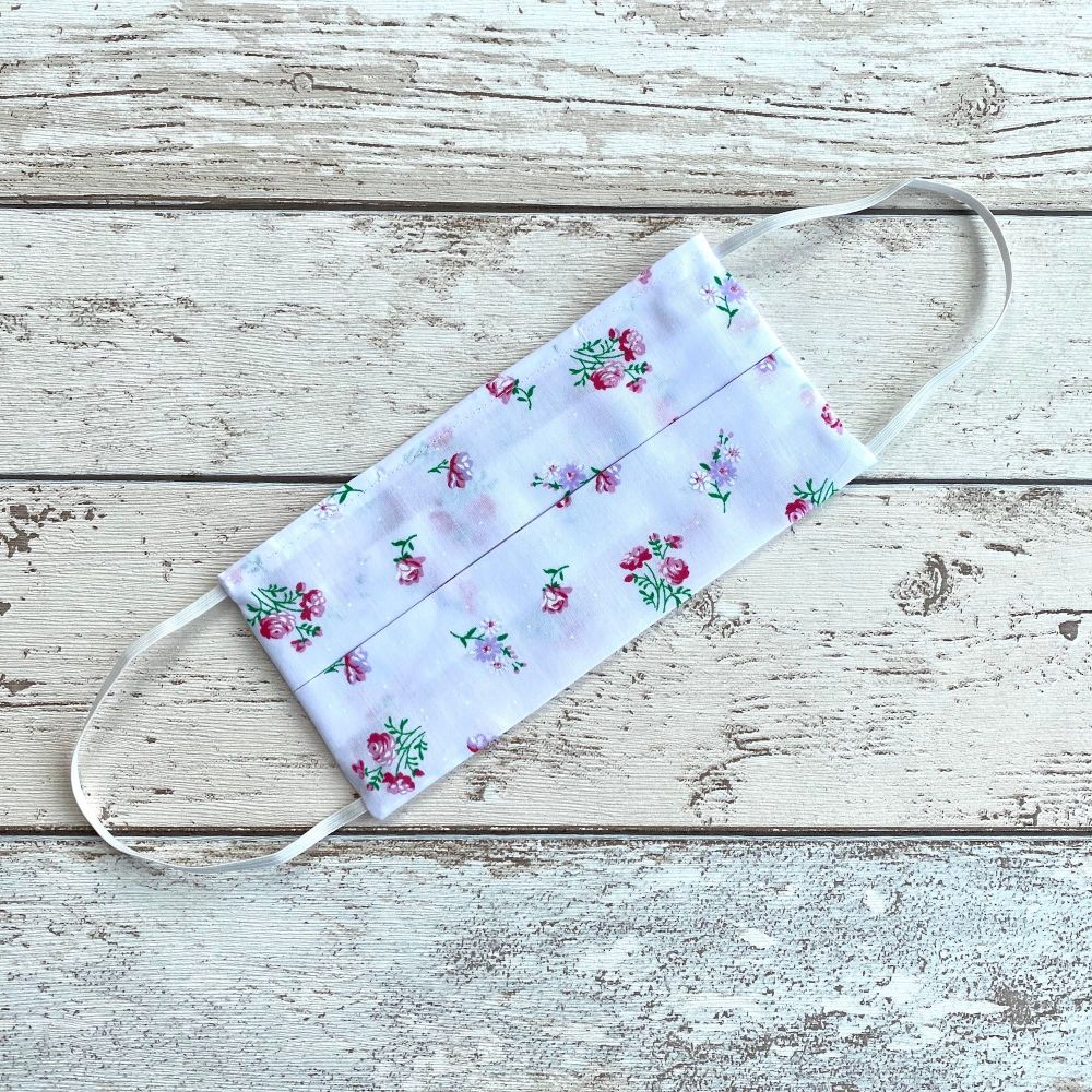 100% Cotton Face Mask   Handmade   White & Red Flowers
