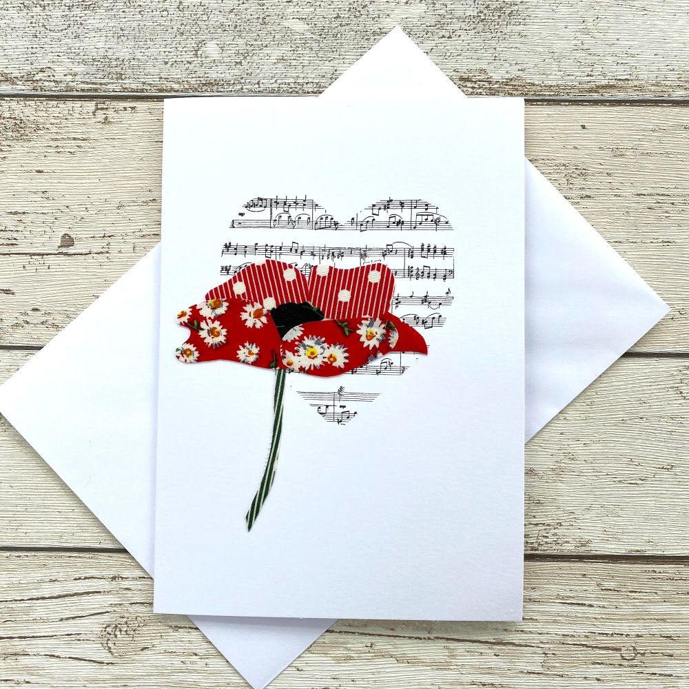 <!--0020-->Fabric Flowers Greeting Card - Poppy