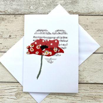 Fabric Flowers Greeting Card - 'Poppy'