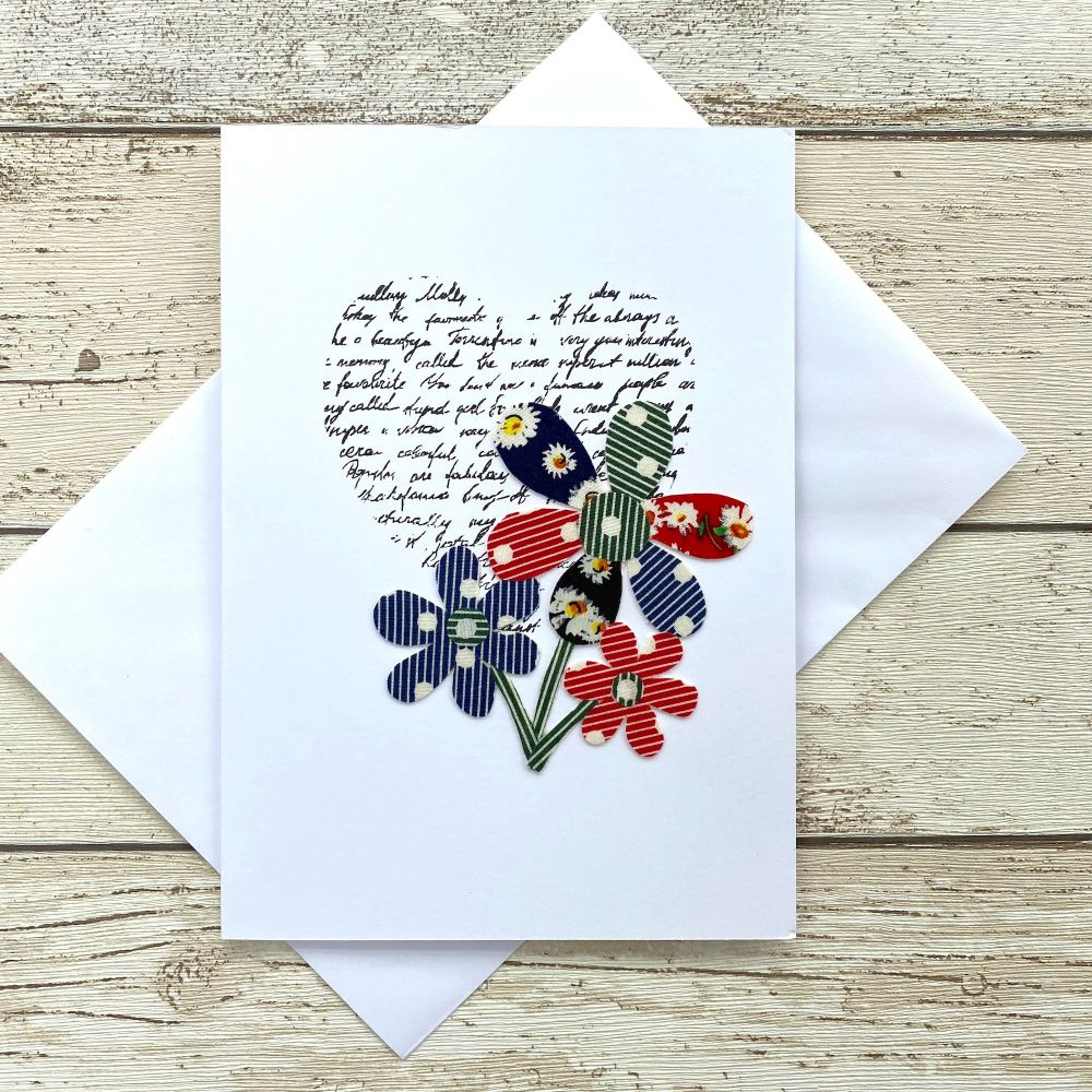 <!--0020-->Fabric Flowers Greeting Card - 'Bouquet'