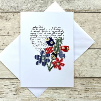 Fabric Flowers Greeting Card - 'Bouquet'