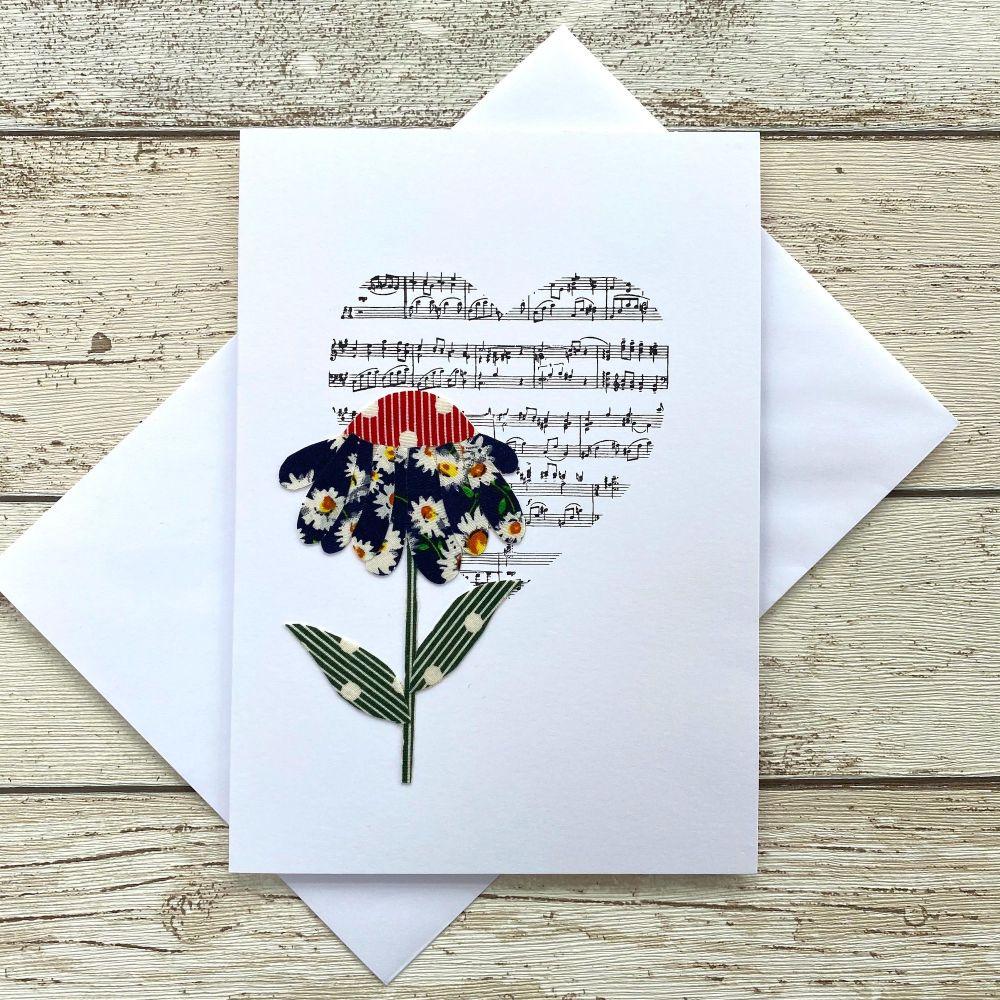 <!--0020-->Fabric Flowers Greeting Card - 'Daisy'