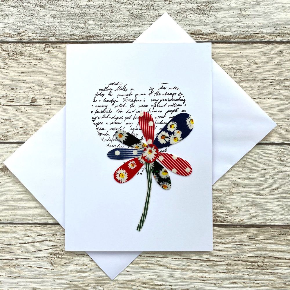 <!--0020-->Fabric Flowers Greeting Card - 'Petals'