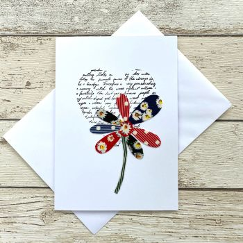 Fabric Flowers Greeting Card - 'Petals'