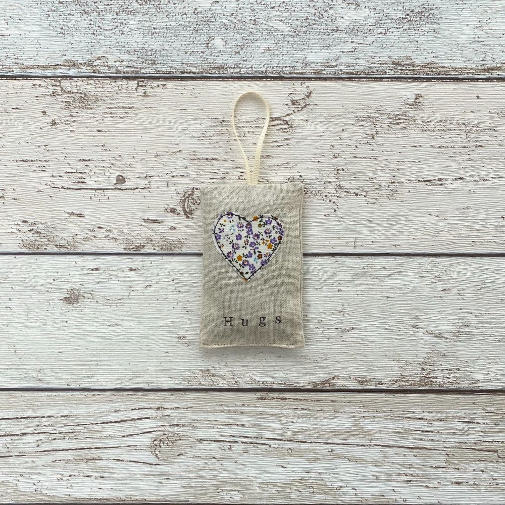 Hugs Heart Lavender Pouch - Purple Ditsy Floral Heart