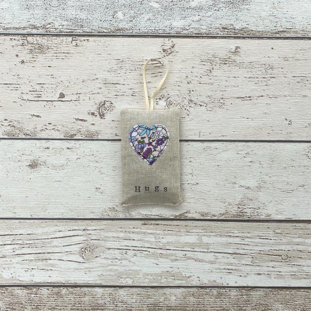 Hugs Heart Lavender Pouch - Blue & Lilac Floral Heart