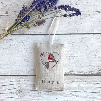 Christmas Hugs Heart Lavender Pouch - Robin