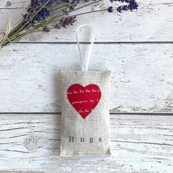 Christmas Hugs Heart Lavender Pouch - Red Heart 'tis the season'