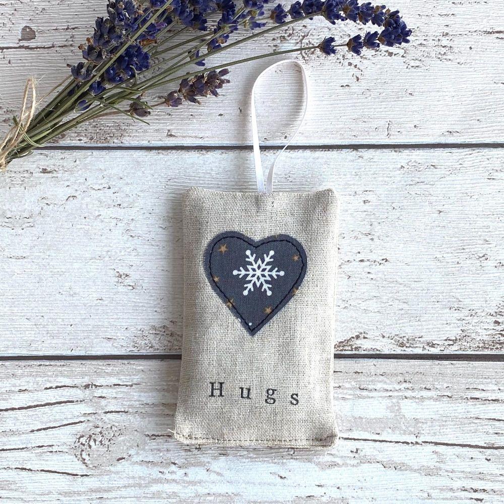Christmas Hugs Heart Lavender Pouch - Snowflake