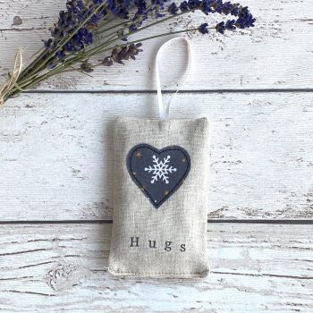 Christmas Hugs Heart Lavender Pouch - Grey Snowflake