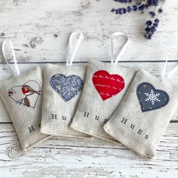 Christmas Hugs Heart Lavender Pouch - Set of 4