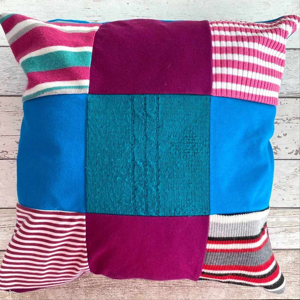 <!-- 0020-->Patchwork Memory Cushion - Custom Made from Loved Ones Clothing