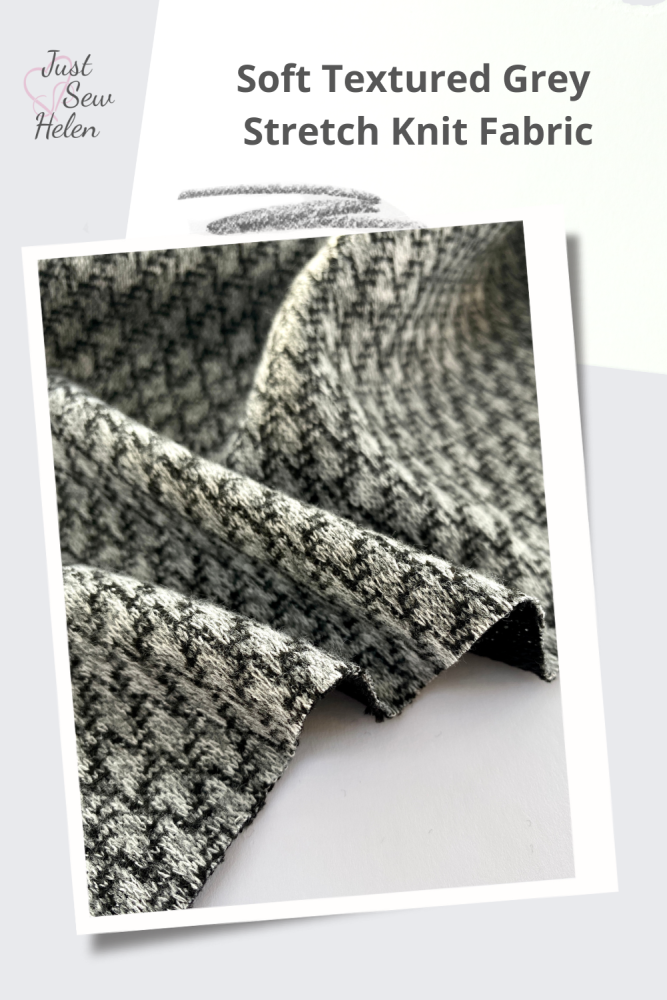 Soft Textured Grey Stretch Knit Fabric shown on a poster by Just Sew Helen, logo in the top left corner