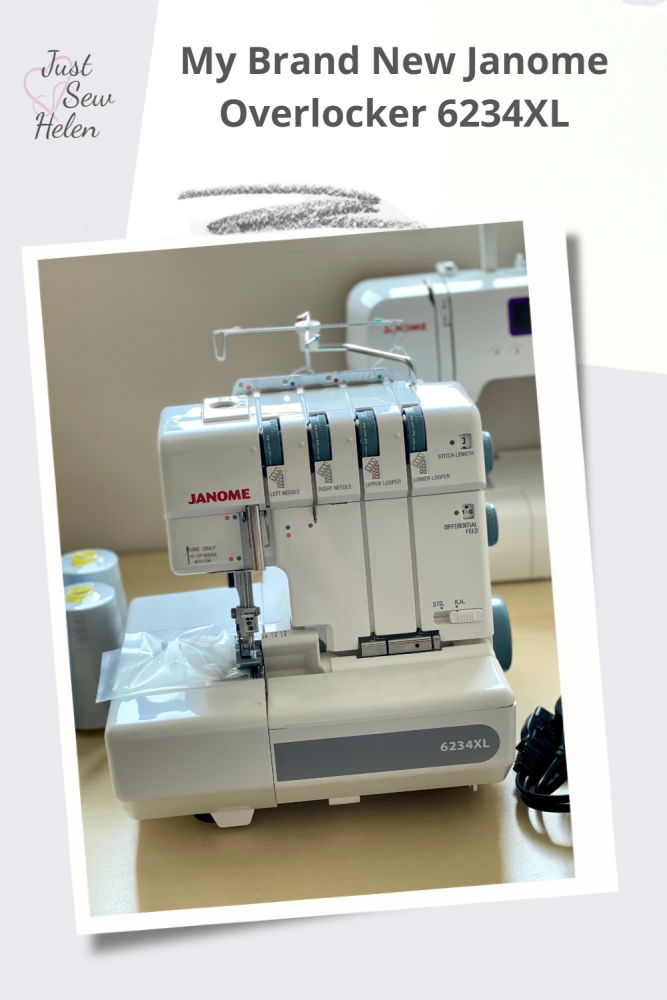A picture of an overlocker machine with the words My Brand New Janome Overlocker 6234XL