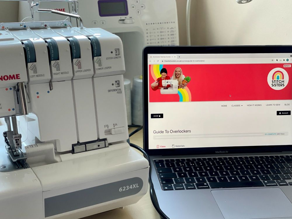 A laptop showing Stitch Sisters Overlocker Course Janome Overlocker 6234XL