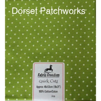Fabric Freedom - Quick Cut - Bright Apple green and white