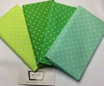 Michael Miller - Fat Quarter Bundle - Modern Basics Ocean - Small Polka Dots - Greens