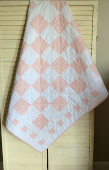 Pink and White Baby Quilt with Square Border