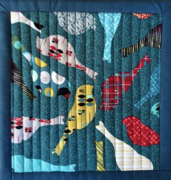 Mid Mod Quilted Place Mat (Bird Teal and Circles Red)