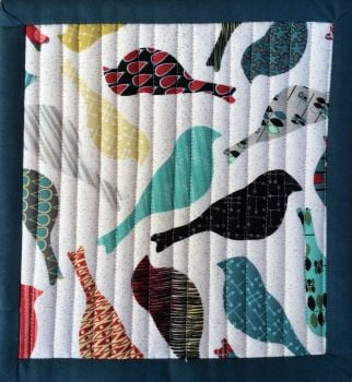 Mid Mod Quilted Place Mat (Bird Cream and Circles Teal)