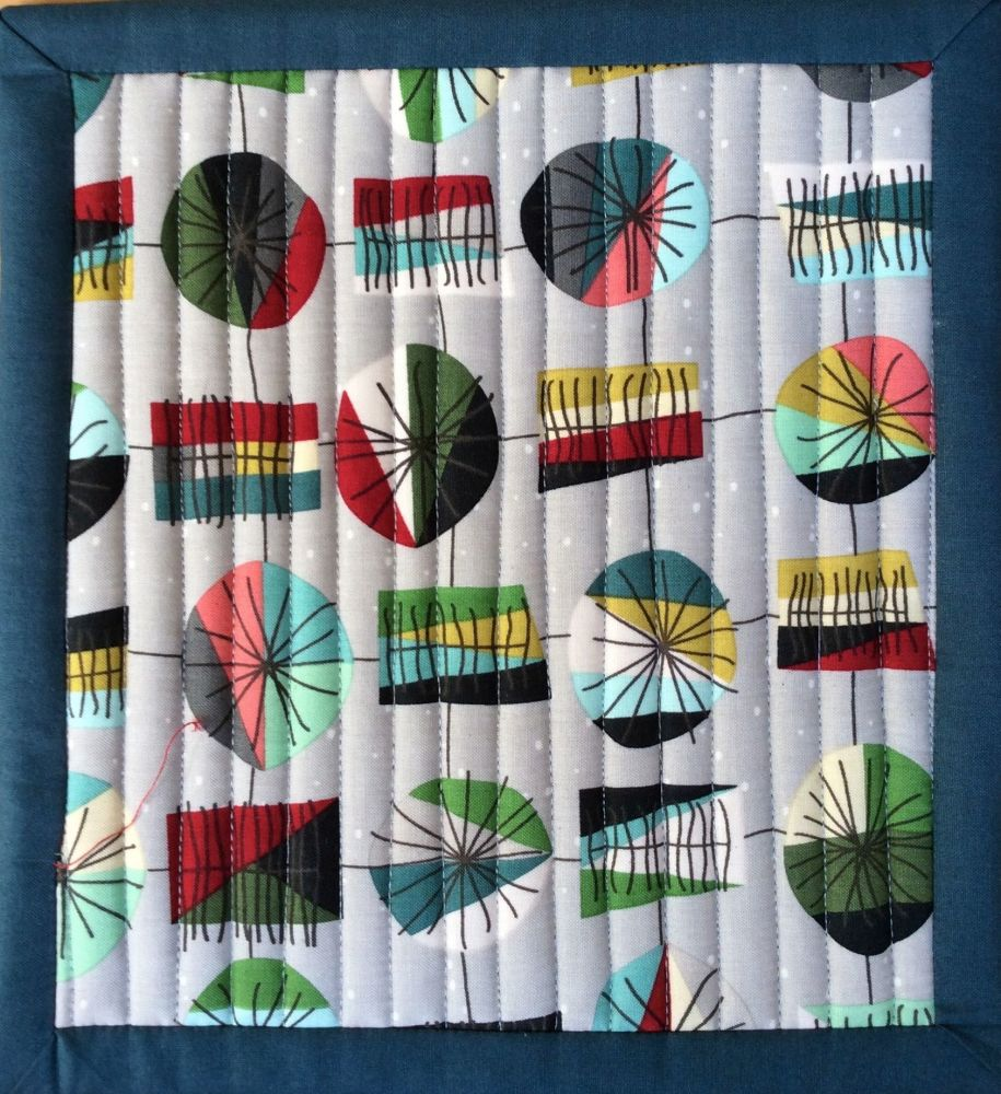 Mid Mod Quilted Place Mat (Main Grey and Wave Teal)