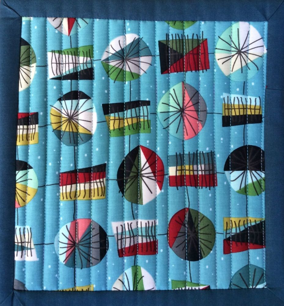 Mid Mod Quilted Place Mat (Main Teal and Lines Dark Grey)
