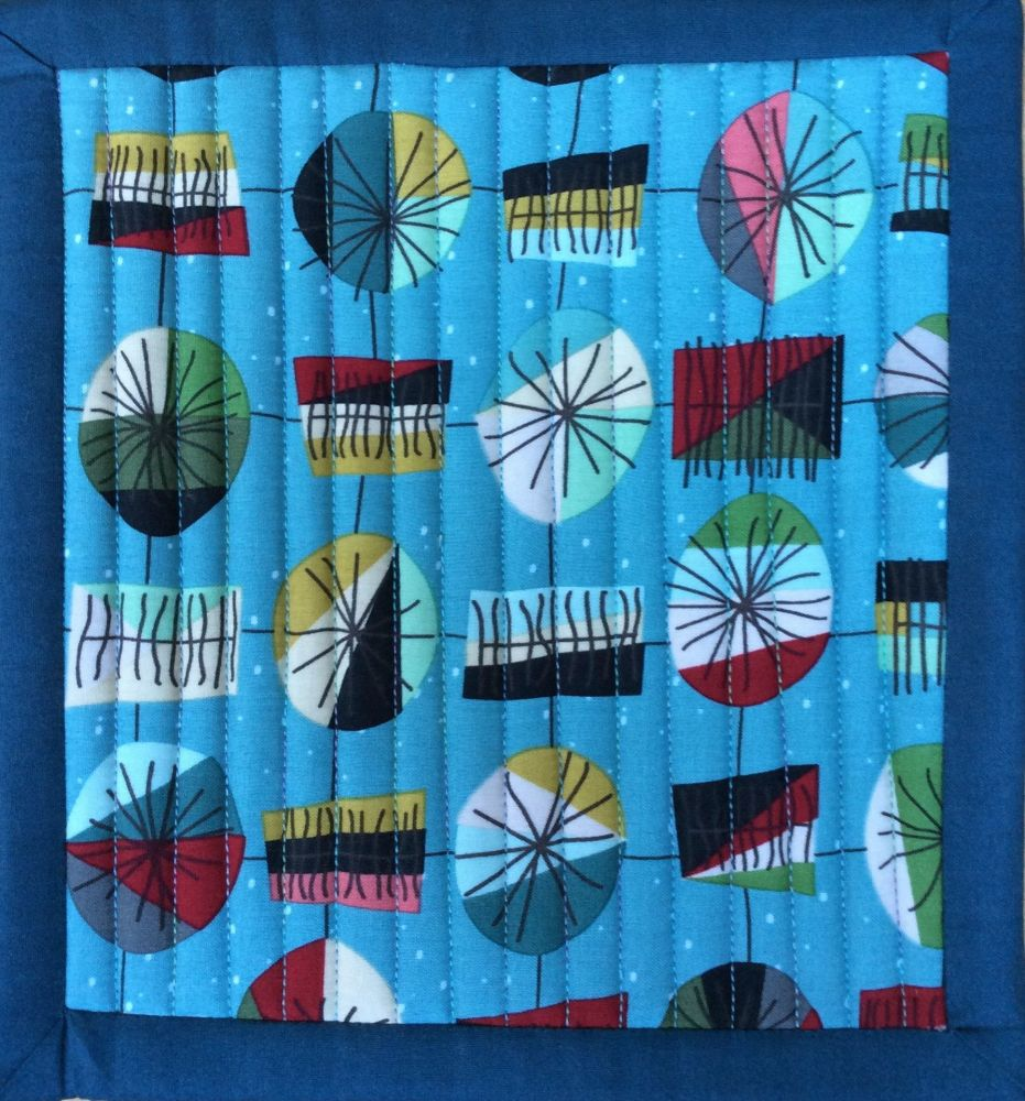 Mid Mod Quilted Place Mat (Main Teal and Waves Teal)