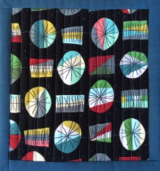 Mid Mod Quilted Place Mat (Main Black and Lines Red)