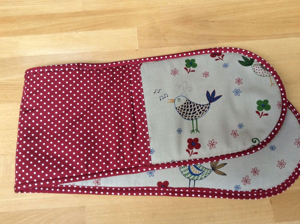 Bird Oven Gloves (With Red Polka Dots)
