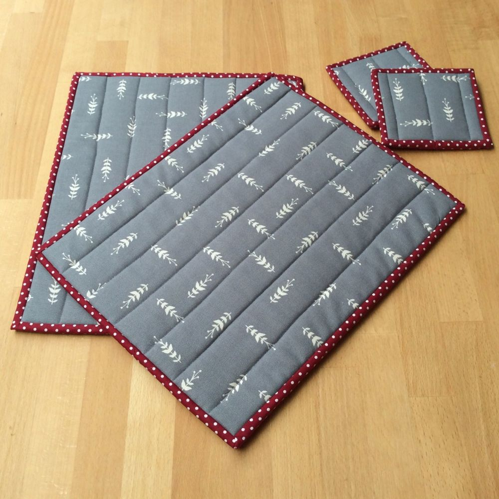Pair of Quilted Place Mats and Coasters