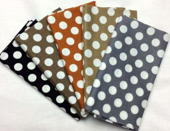 Michael Miller - Fat Quarter Bundle - Modern Basics Neutral - Large Polka Dots