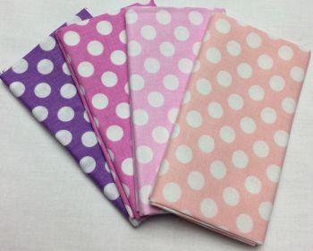 Michael Miller - Fat Quarter Bundle - Modern Basics Bloom - Large Polka Dots - Purples and Pinks