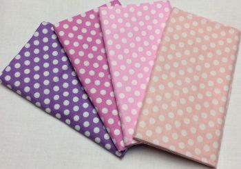 Michael Miller - Fat Quarter Bundle - Modern Basics Bloom - Medium Polka Dots - Purples and Pinks