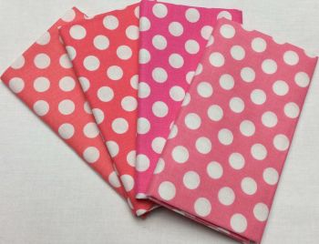 Michael Miller - Fat Quarter Bundle - Modern Basics Bloom - Large Polka Dots - Corals and Pinks
