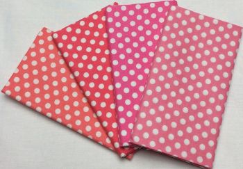 Michael Miller - Fat Quarter Bundle - Modern Basics Bloom - Medium Polka Dots - Corals and Pinks