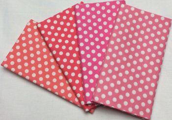 Michael Miller - Fat Quarter Bundle - Modern Basics Bloom - Medium Polka Dots - Corals and Pinks