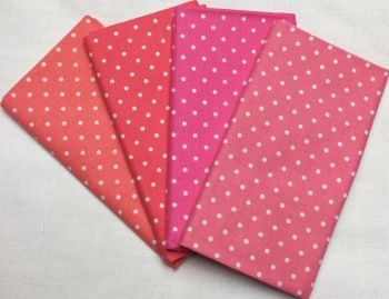 Michael Miller - Fat Quarter Bundle - Modern Basics Bloom - Small Polka Dots - Corals and Pinks
