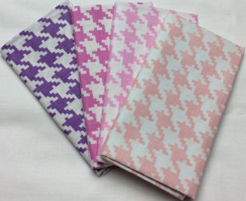 Michael Miller - Fat Quarter Bundle - Modern Basics Bloom - Large Houndstooth - Purple and Pinks