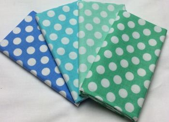 Michael Miller - Fat Quarter Bundle - Modern Basics Ocean - Large Polka Dots - Blues and Greens