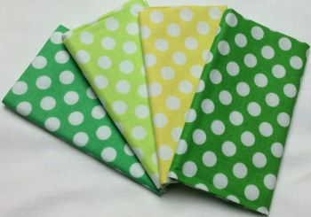 Michael Miller - Fat Quarter Bundle - Modern Basics Ocean - Large Polka Dots - Yellow and Greens