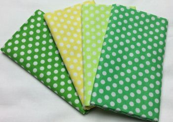 Michael Miller - Fat Quarter Bundle - Modern Basics Ocean - Medium Polka Dots - Yellow and Greens
