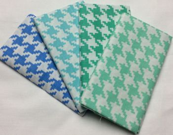 Michael Miller - Fat Quarter Bundle - Modern Basics Ocean - Large Houndstooth - Greens and Blues