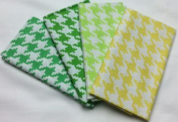Michael Miller - Fat Quarter Bundle - Modern Basics Ocean - Large Houndstooth - Yellow and Greens